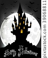 Halloween background with scary house on the full  39068811