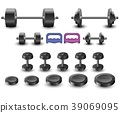 Set of sports equipment icons isolated a white bac 39069095