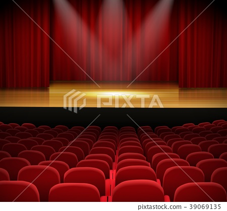Theater stage with red curtains and seats 39069135