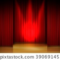 Empty stage with red curtain and spotlight on wood 39069145