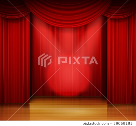 Empty stage with red curtain and spotlight on wood 39069193