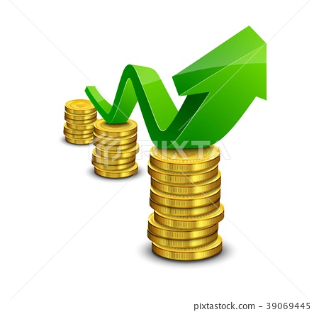 Pile of coin with green rising graph with upward a 39069445