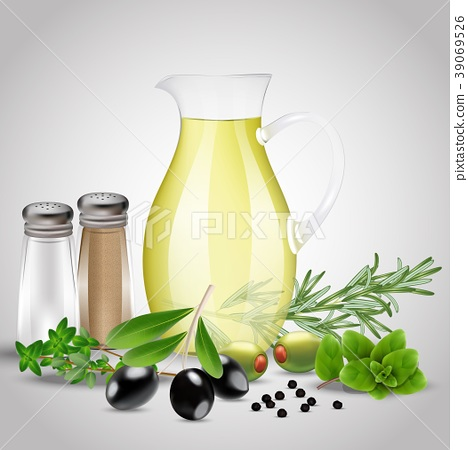 Spices and herbs with a glass oil bottle 39069526