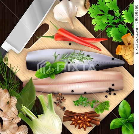 Spices and herbs and seafood with cutting board an 39069569