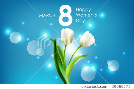 Happy women's day and white tulips flowers on blue 39069576