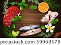 Spices and herbs with meat and chicken on the wood 39069578