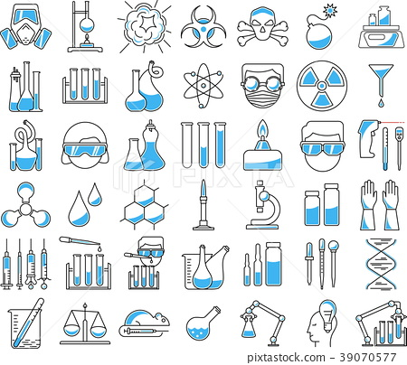 chemistry icons in linear style 39070577