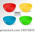 Empty realistic vector food bowls. Ceramic kitchen 39070845