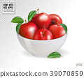 Red apples in white bowl, isolated on transparent 39070859