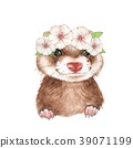 Cute ferret. Watercolor illustration 39071199