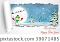Happy Snowman Christmas background with concept fo 39071485