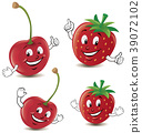 Cartoon strawberry and cherry giving thumbs up 39072102