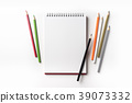Top view of spiral notebook and color pencil 39073332