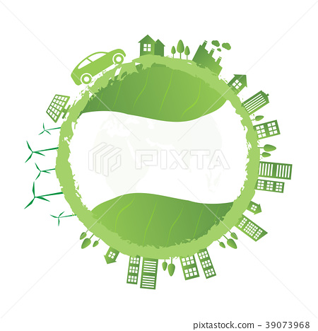 Isolated city buildings on green leaf design 39073968