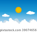 Sunny background, blue sky with white clouds and s 39074656