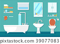 furnishing bathroom interior with bath, washbasin 39077083