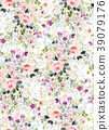 Seamless summer pattern with watercolor flowers 39079176