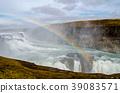 waterfall of gullfoss, waterfall, rainbow 39083571