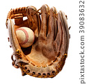 Baseball glove with ball isolated on white 39083632