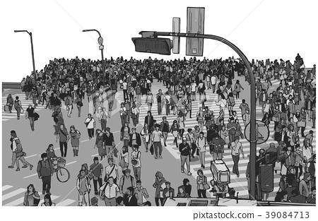Illustration of Tokyo Shibuya Crossing 39084713