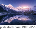 Himalayn mountains and mountain lake at starry night in Nepal 39085055