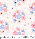 vector seamless floral pattern with cosmos flowers 39085252
