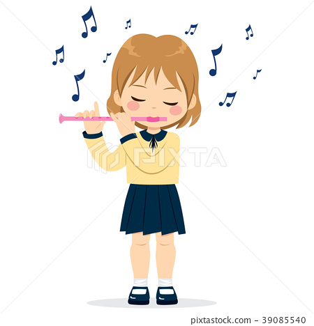 Girl Playing Flute 39085540
