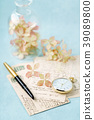 vintage cards and hydrangea flower 39089800