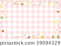 Hand drawn sweets frame gingham check background 39094329