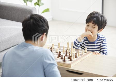 國際象棋,家庭,爸爸,兒子,韓國人 39094635