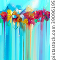 Flower paintings on green,blue color background 39096195