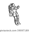 doodle astronaut vector illustration sketch  39097189