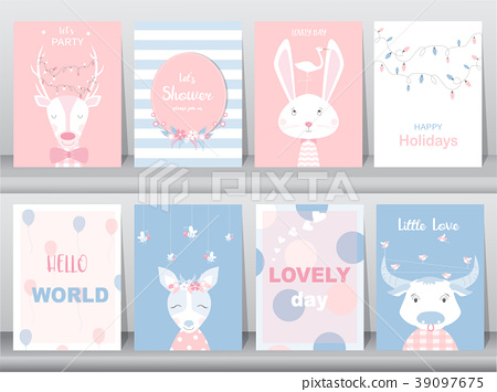 Set of cute animals poster,greeting cards, podter 39097675