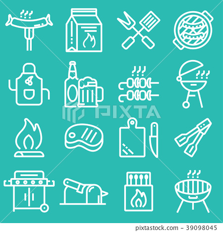 Grill or Barbecue icons set 39098045