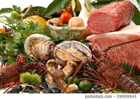 秋天的味道食物蔬菜肉成份蝦蘑菇豪華成份海鮮成份果子秋天胃口 39099943