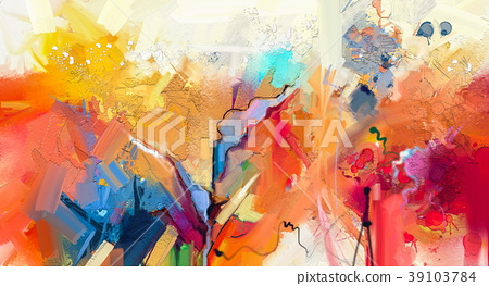 Abstract colorful oil painting on canvas  39103784