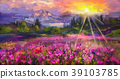 oil painting purple cosmos flower 39103785