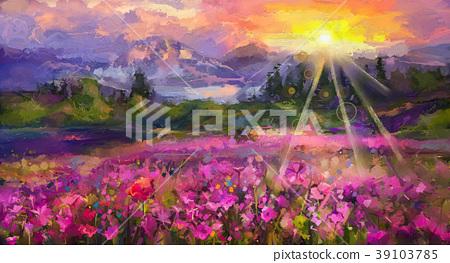oil painting purple cosmos flower 39103785