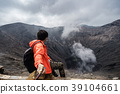 Traveler at crater volcano at Bromo 39104661