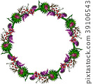 painted wreath of burdock flowers, mouse peas 39106543