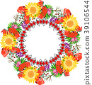 wreath of sunflower and red flowering poppies 39106544