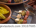 Small appetizers on skewers 39107685