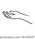 doodle hand gesture of giving vector illustration  39108387