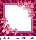 Festive frame with pink 3d sakura blossom 39108465