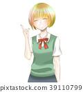 귀여운 소녀 젊은 학생 미소 유니폼 밥 귀여운 패션 화려한 머리 미발 미용 건강 39110799