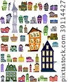 Set of editable colorful cartoon houses, clip-art 39114427