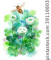 수채화로 그린 토끼풀과 꿀벌 39116603