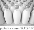 3D rendering row of glass milk bottles 39117012