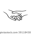 doodle hand of lover holding each other vector  39118438