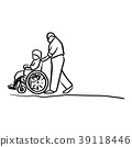 old man helping his wife on wheelchair vector 39118446